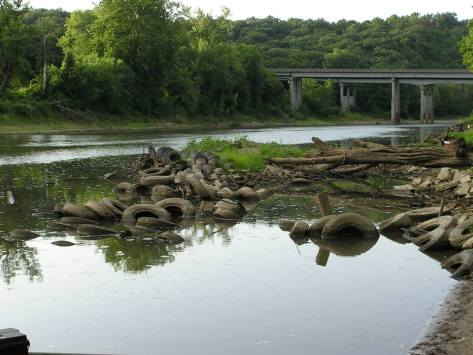 There used to be a large pile of tires on the Meramec river across from Emmenegger Nature Park. These tires were remove in 2005 with the help of Open Space Council for the St. Louis Region, Metropolitan St. Louis Sewer District, and a few local stream teams.