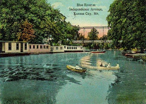 Historic, 1900s postcard of a yacht club on the Blue River in Kansas City.