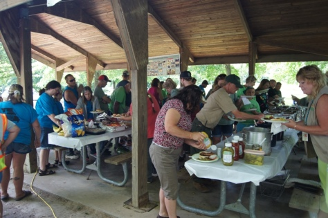 The Meramec Watershed Celebration picnic has grown over the years. NORP grills, and Stream Team members contribute side dishes.